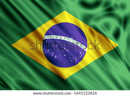 brazilian flag background on shiny wavy fabric