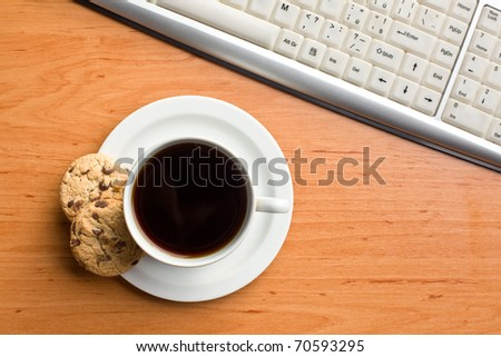 breakfast in office : cookies and coffee