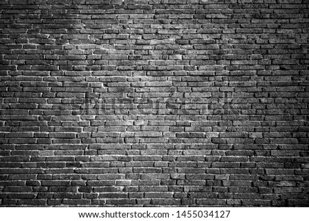 Brick wall in black and white. Black and white background. #1455034127