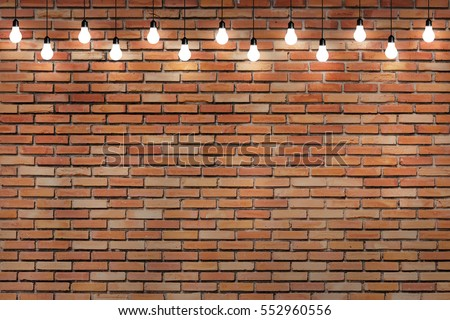 brick wall with bulb lights lamp. nice brick show room with spotlights.  #552960556