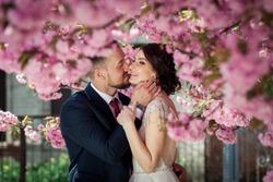 bride and groom in blooming sakura