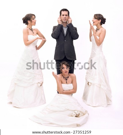3 brides and 1 groom