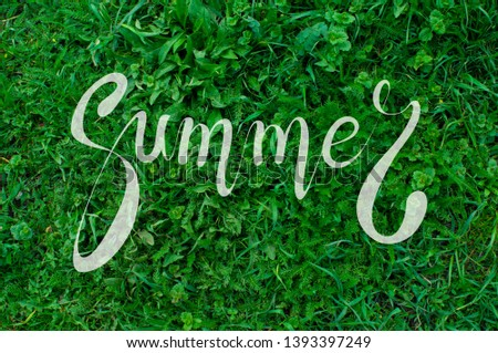 Bright background with green lawn, grass with lettering calligraphic lettering summer white color. #1393397249