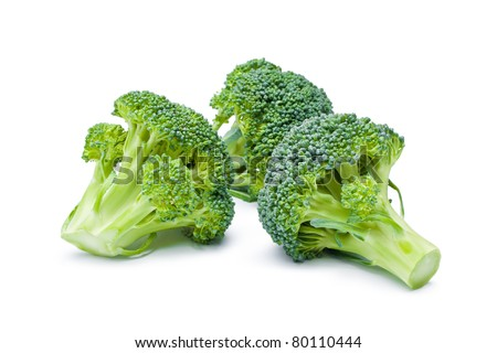 Broccoli. Arrangement of three fresh ripe raw broccoli pieces closeup isolated on white background