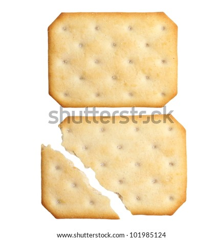 broken cracker biscuit isolated on white background