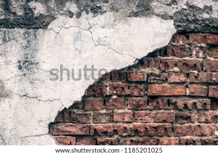 broken old red brick wall texture grunge background may use to interior design