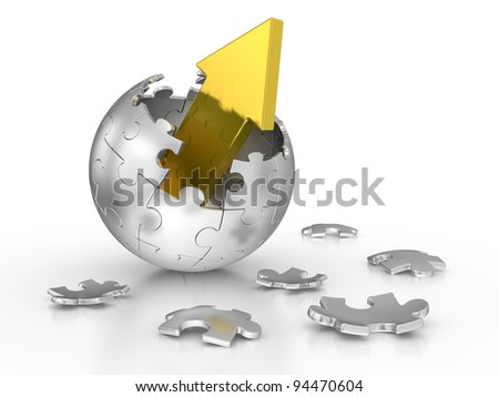 broken sphere of puzzle with red arrow. leadership concept