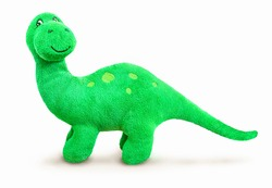 Brontosaurus plush toy. Isolated on white background with natural shadow. Brontosaur stuffed toy on white bg.