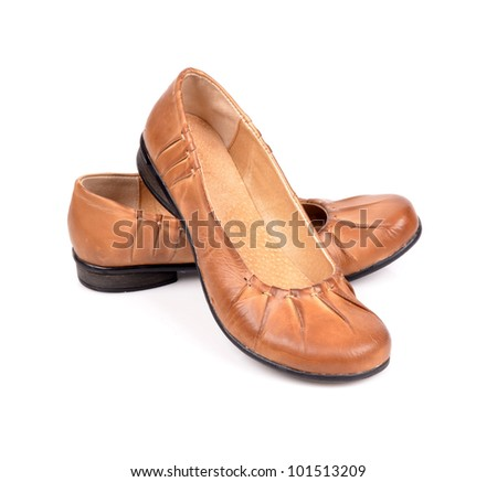 brown ladies shoes low isolated on white