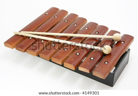 brown xylophone on white background