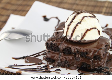 Brownie with ice cream on the dish