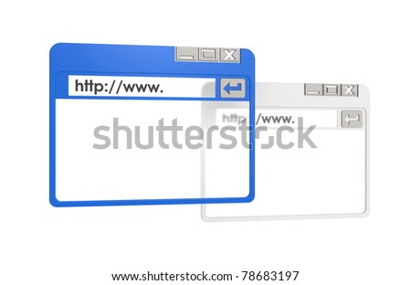 2 Browser Windows, one blue. Isolated on white
