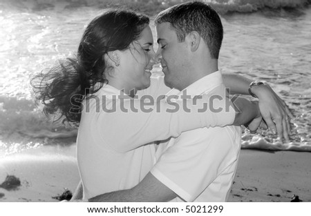 Brunette Couple at the Beach Black and White