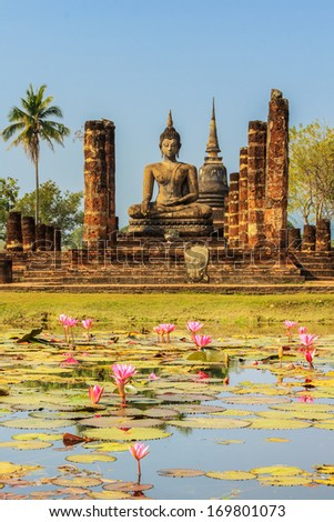 Buddha Statue at Wat Mahathat in Sukhothai Historical Park Thailand
