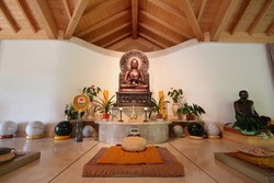 Buddhist Temple in Italy .Santacittarama Buddhist Monastery, A religious organization  its meditative practices the standards of  Buddhism