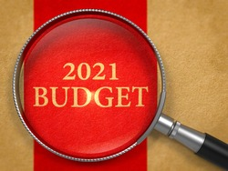 2021 Budget Concept through Magnifier on Old Paper with Red Vertical Line Background.