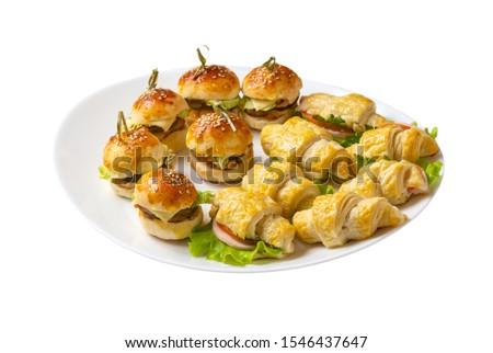 Buffet food. Kanape, rolls, and other snacks Stock fotó ©