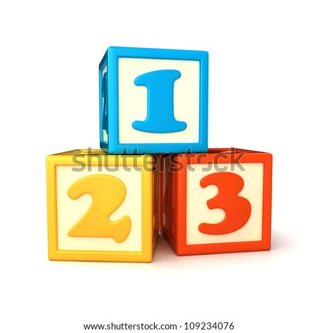 123 building blocks on white background