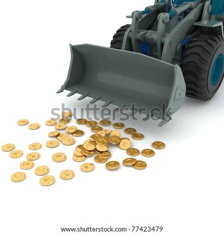 bulldozer raked pile of coins over white background