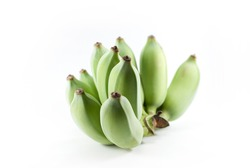 1 bunch of raw bananas on a white background.