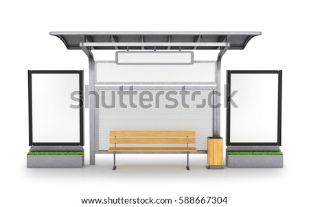 bus stop. 3D illustration