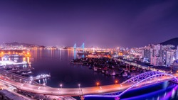 Busan harbor bridge at night. Busan Port, South Korea.