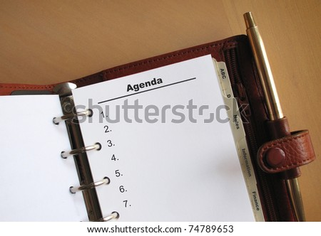 Business concepts Agenda list with numbers in a personal organizer