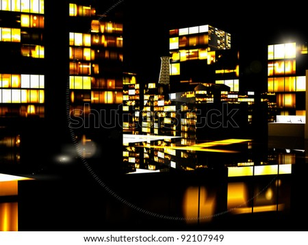 Business District at Night