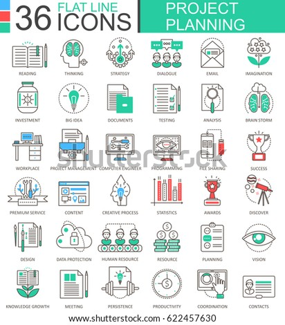 business finance project planning modern color flat line outline icons for apps and web design.