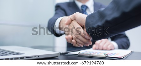 Business handshake and business people. panoramic banner