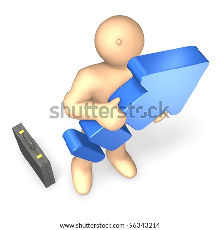 """""""Business Man"""" shows his """"upward mobility"""". This is a computer generated image,on white background."""