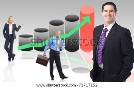 Business people team and graph - stock photo