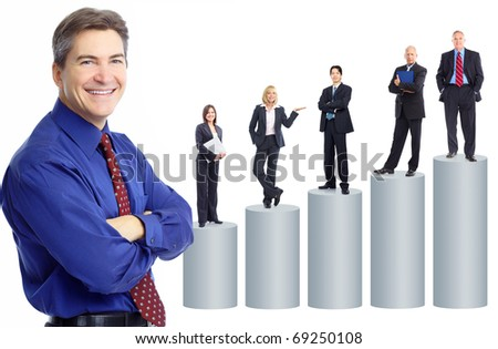 Business people team and graph. Isolated over white background
