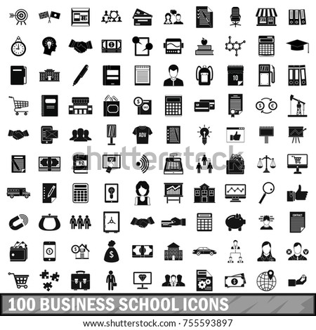 100 business school icons set in simple style for any design  illustration