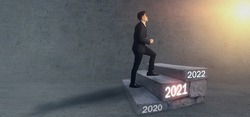 2021 business strategy concept, business man try to step up to cross year 2021ladder to make a benefit, profit, trend, market, success, grow up, turnover, financial,moeny, opportunity, achievement