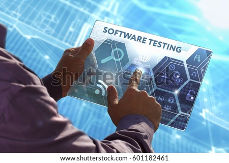 Business, Technology, Internet and network concept . Young business man working on the tablet of the future , select the virtual screen: Software testing