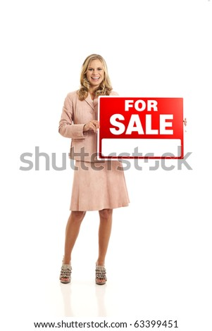 Asian Woman Holding Sale Sign 119