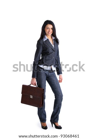 Business woman with briefcase isolated over a white background