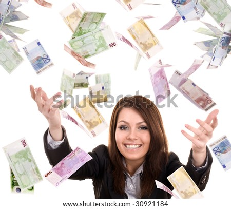 Business women with flying money. Isolated.