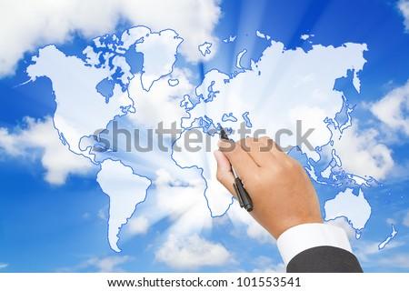 Businessman Draw a world map  on blue sky