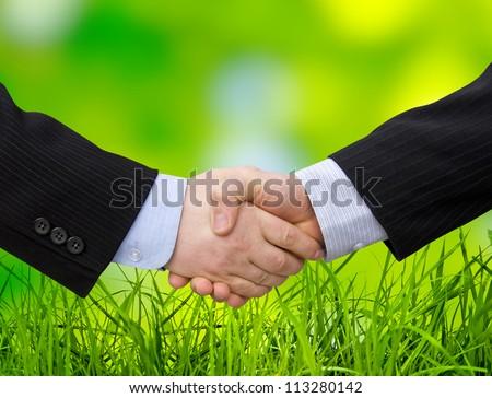 Businessman handshake teamwork partners shaking hands