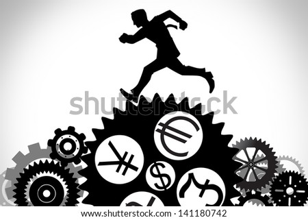 businessman running on the gear with currency symbol, dollar, euro,pound,yen