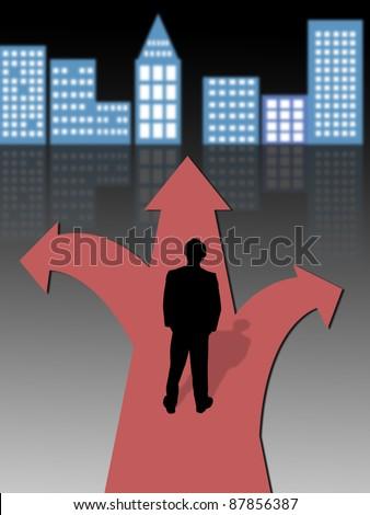 businessman standing at a crossroads