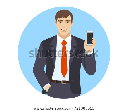 Businessman with hand in pocket and with mobile phone. Portrait of businessman in a flat style. Raster illustration.