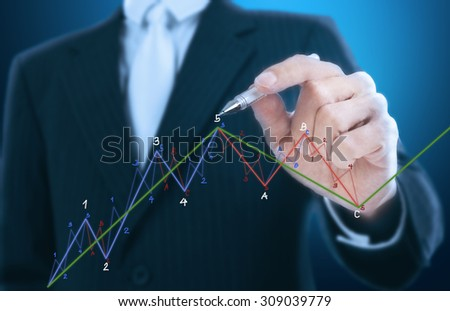 businessman writing chart pattern