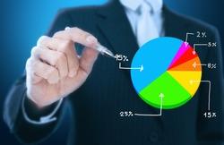 businessman writing graph of stock market