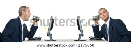 2 businessmen with telephone can internet communication - stock photo