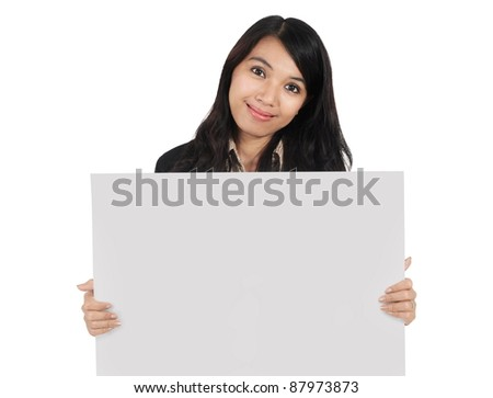 businesswoman carrying blank paper isolated on white background