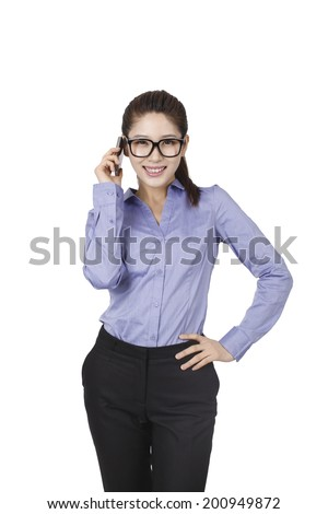 Businesswoman using cell phone	 #200949872