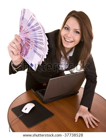 Businesswomen with group of money and laptop. Isolated.